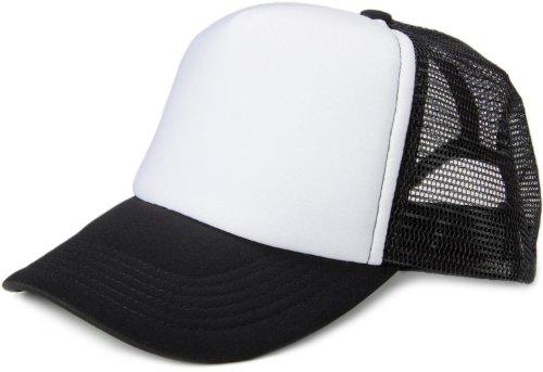 styleBREAKER 5 Panel Mesh Cap, verstellbar 04023007, Farbe:Weiß-Schwarz