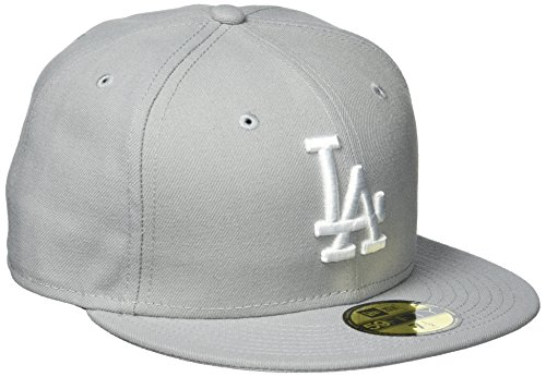 New Era Erwachsene Baseball Cap Mütze Mlb Basic LA Dodgers 59Fifty Fitted, Grey/White, 7 5/8, 10531950