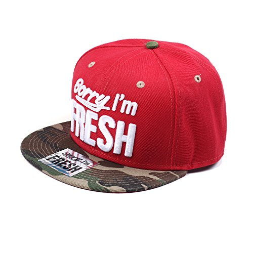 Sorry I'm Fresh Rot und Tarnung Snapback Baseballkappe (Red & Camo)
