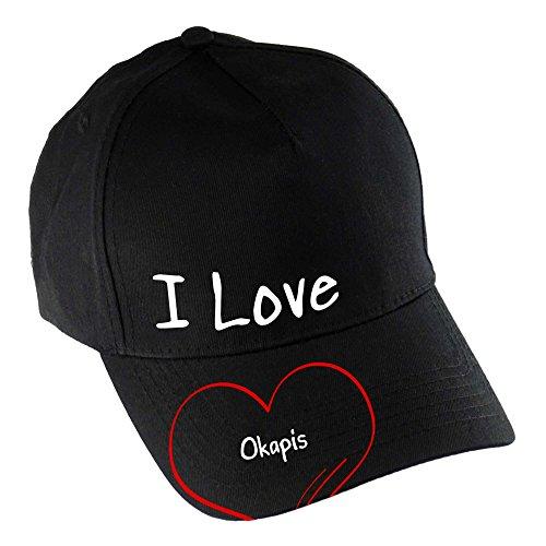 Baseballcap Modern I Love Okapis schwarz