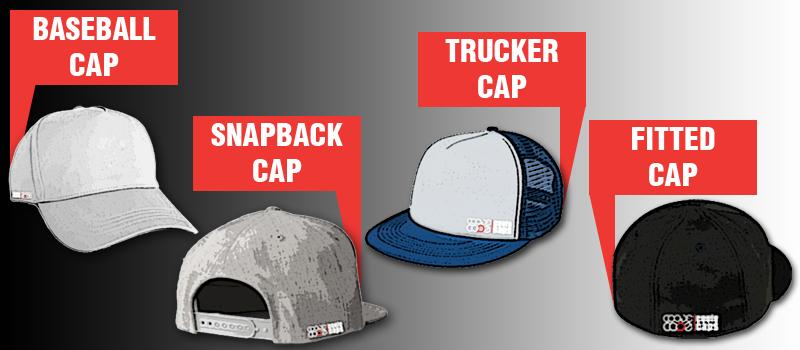 Übersicht der verschiedenen Cap Arten: Baseball Cap, Snapback Cap, Trucker Cap, Fitted Cap